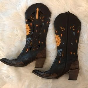 Maria Pina Brown Leather Western Cowgirl Boots 7